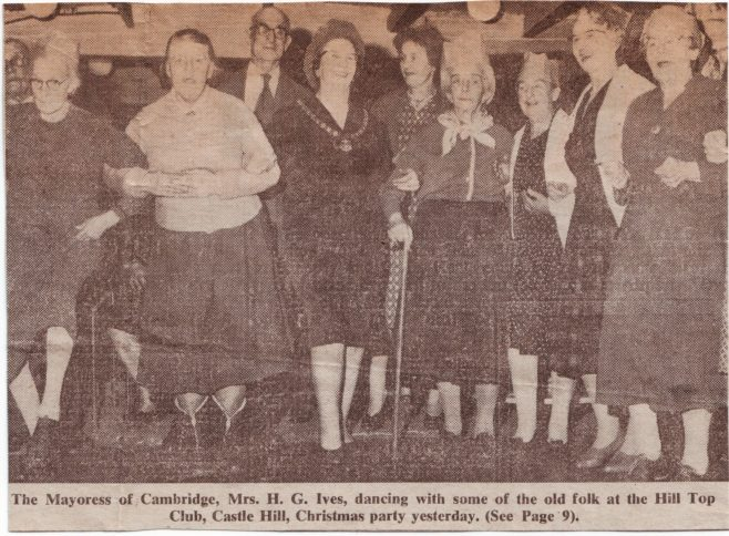 The picture shows Miss Nellie Pluck (with stick) who was the attendant for the customer cloakroom at Robert Sayle
