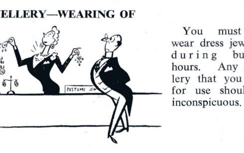 Instruction and cartoon on the wearing of jewellery at work in the Partners' Handbook of 1955 belonging to Robert Sayle partner M White.