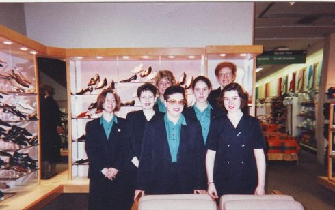Robert Sayle Shoe department team, (front left Julie Start -back right Louise)
