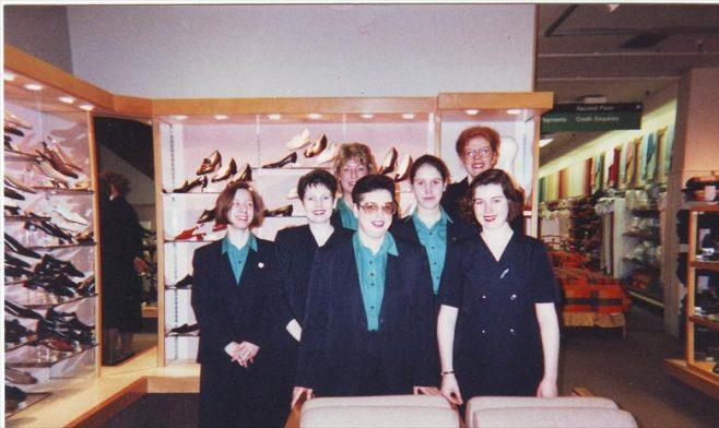 Robert Sayle Shoe department team, (front left Julie Start -back right Louise)