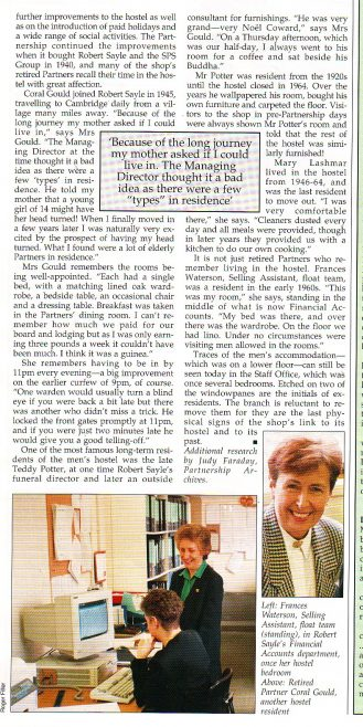Life above Robert Sayle remembered by Frances Waterson