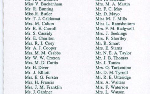 Waterloo/25 year Club - List of Robert Sayle Members in 1997