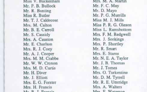Waterloo/25year Club List of Robert Sayle Members in 1997