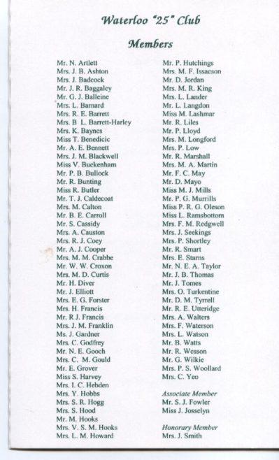 Waterloo/25 years Club List of Robert Sayle Members 1999