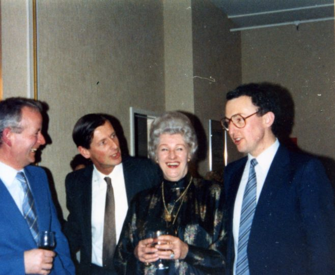 Peter O'Ryan, Mr Miller, Mrs Reader and Chris Mitchell at a social event