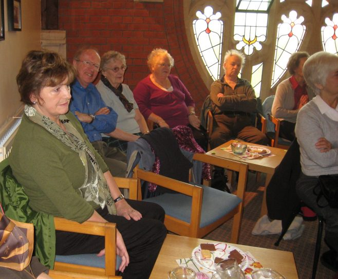 Esther Learny,  Steve Patten and other retired members at the coffee morning discussing the posible archive of Robert Sayle.