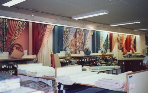Robert Sayle Curtain Fabric Department display wall
