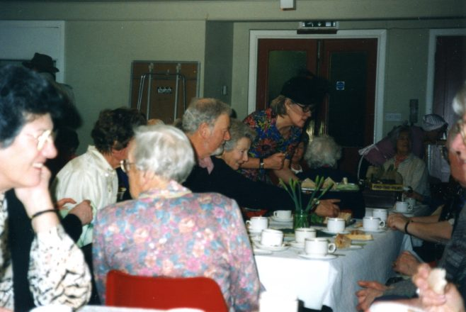 A group enjoying the Diamond Birthday Tea