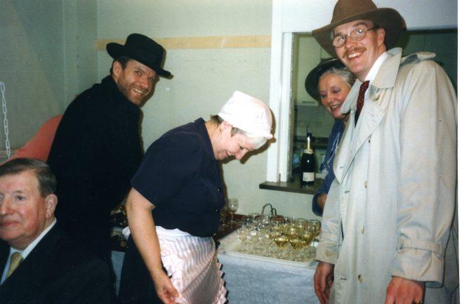 An already  happy group preparing the drinks for the Diamond Birthday Celebratuions