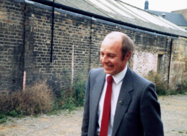 David Mayo arriving at the back of Robert Sayle Radio and TV Dept. on his birthday