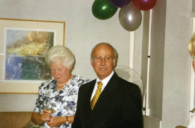 Jim Starr with his wife Betty on the occasion of his retirement from Robert Sayle