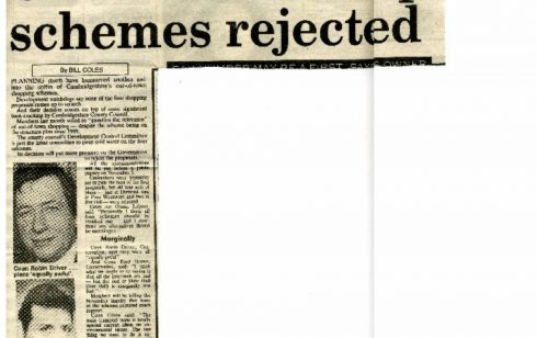 Rejection of  a site for Robert Sayle. Article taken from the Cambridge Evening News.