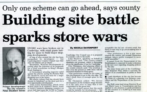 'Store Wars' newspaper cutting regarding the possible move of Robert Sayle