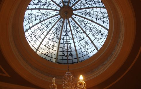Dome and Chandelier at top of main staircase.