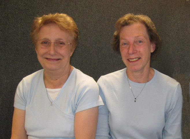 Frances Waterson and Ruth Pilsworth, members of the Robert Sayle Archive Group