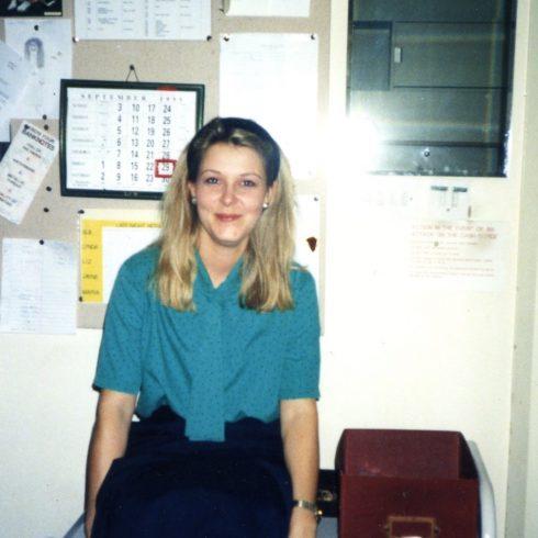 Jayne Gilbertson in the Robert Sayle Cash Office.