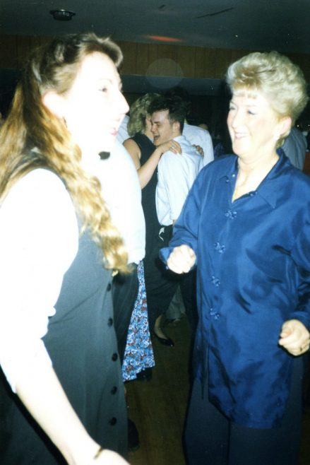 Sue Hyslop and Jean Dalby at a Robert Sayle Christmas Party
