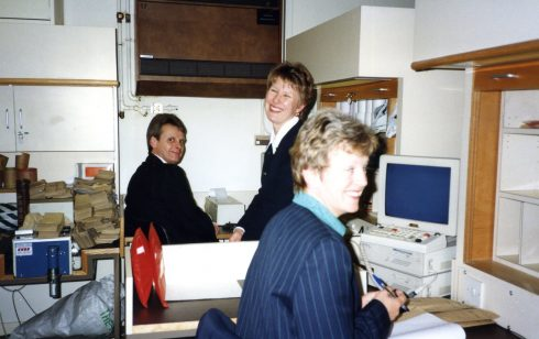 Trevor, Pam Bodger andLiz Richardson in the Robert Sayle Cash Office