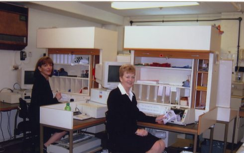 Liz Richardson and Cindy Eaton in Robert Sayle Cash office