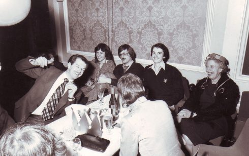 Robert Sayle department Christmas Party with Jim Elliot, Peter Murrills, Peggy Shortley and Linda Merryl
