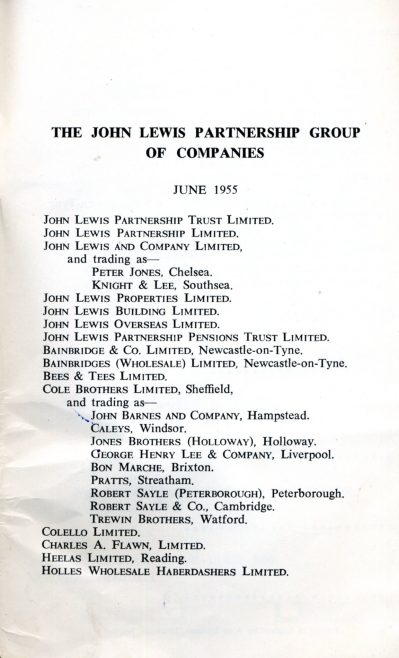 List of John Lewis Department Stores listed Cole Brothers trading as Robert Sayle.