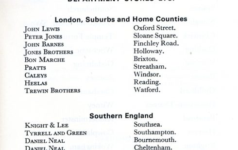 1977 list of John Lewis Department Stores with Robert Sayle listed under its own name