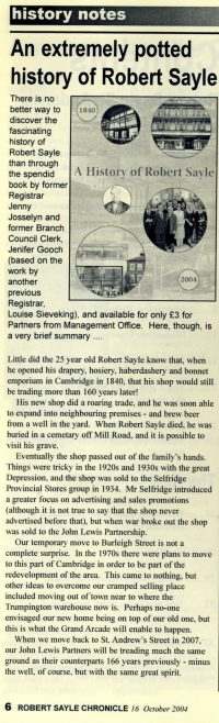 This article was taken from the last Robert Sayle Chronicle before moving to Burleigh Street for the new shop to be built.