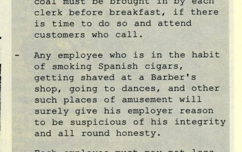 An article taken from an old document at Robert Sayle listing Shop Assistants' duties.