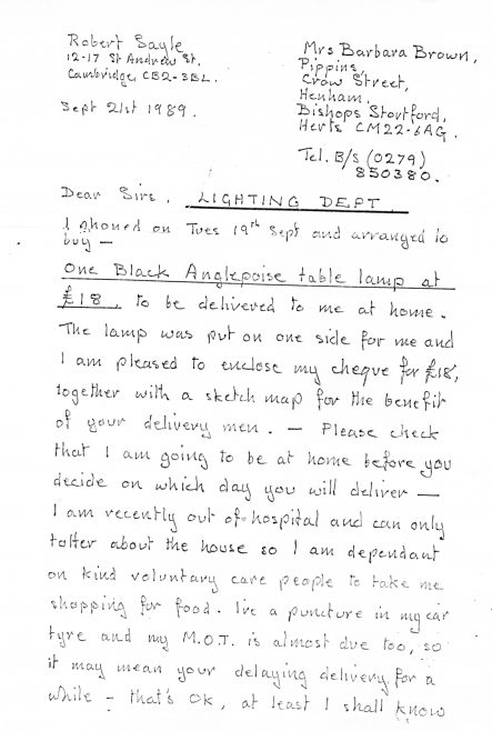 Letter from Robert Sayle Customer regarding delivery of an anglepoise  lamp - Part 1 of 4