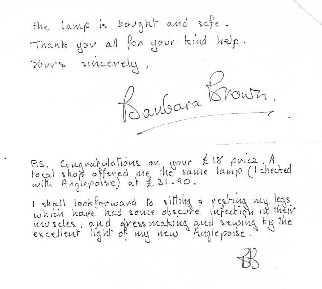 Letter from a Robert Sayle Customer regarding the delivery of an anglepoise lamp - part 2 of 4