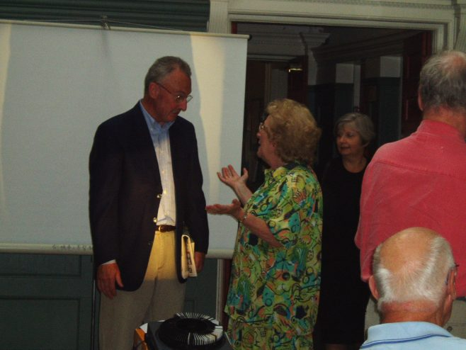Chris Mitchell (MD Robert Sayle) with Audrey Walters at the 75th Anniversary tea party