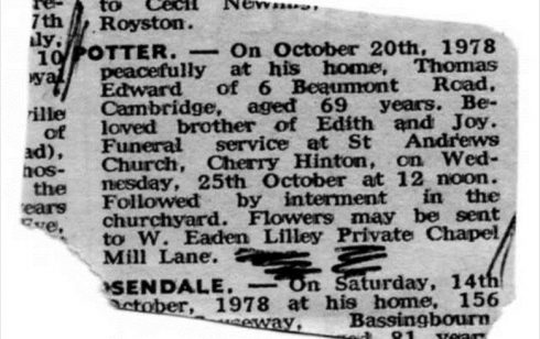 Obituary for Teddy Potter who had been the Funeral Director at Robert Sayle.