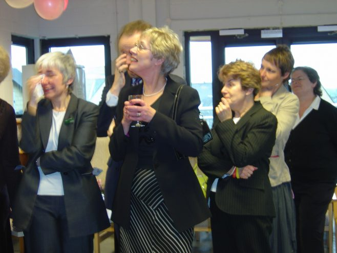Sue Hooks with some of her colleagues at her retirement party