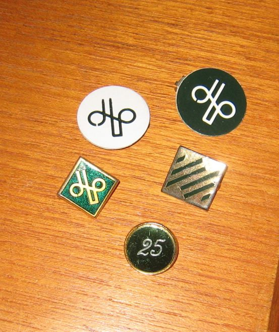 Collection of Partner badges over the years