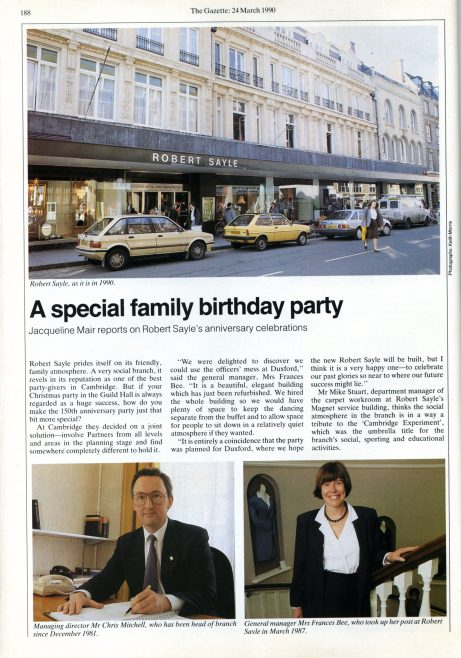 More of the Gazette article celebrating the 150th anniversary of Robert Sayle