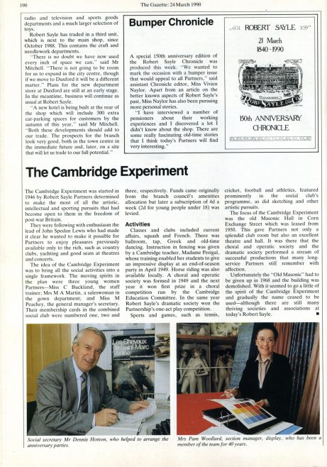Part of an article in the March 1990 Gazette celebrating the anniversary of Robert Sayle