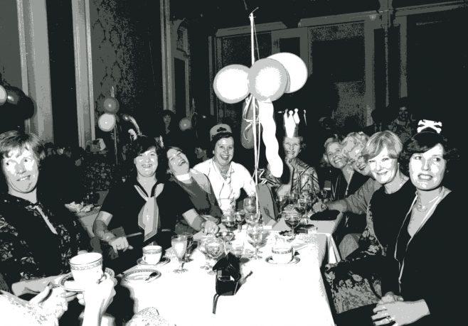 Fashion dept at celebration party with Mrs Reader Dept Manager