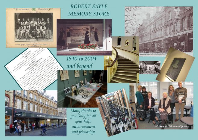 Collage to mark opening of Robert Sayle Memory store project with Gilly Vose our Mentor at the project start.