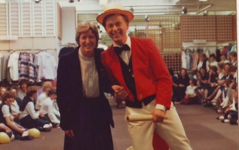Barry Shipp with Pat Hughes staff trainer in a fashion show on the fashion dept