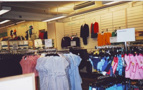 Childrens wear dept in the old work room area after the work room moved to the magnet building