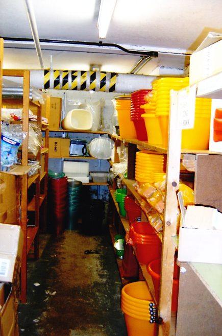Basement stockroom for kitchenware.
