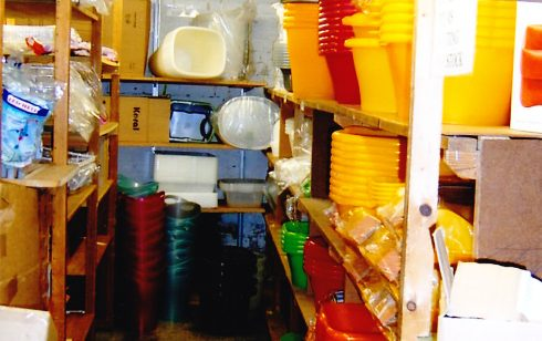 Basement stockroom for kitchenware.