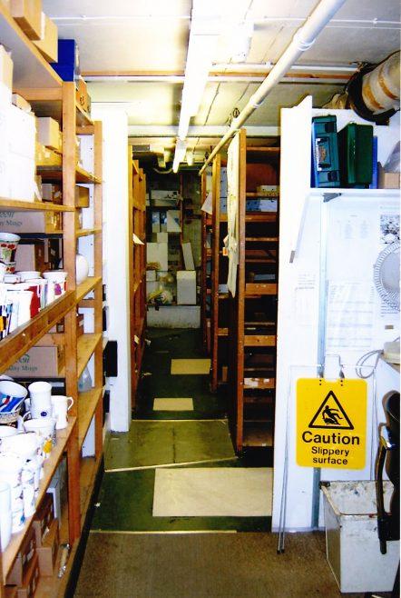 Basement stockroom area.