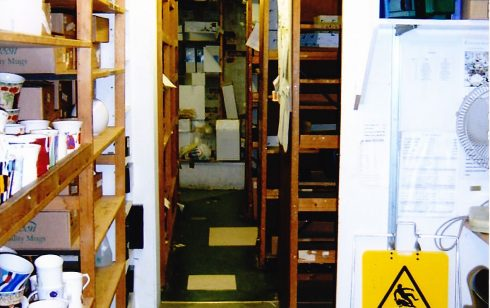 Basement stockroom area.