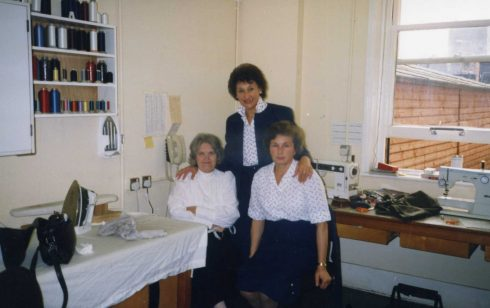 Jo Cocks and her team in fashion workroom