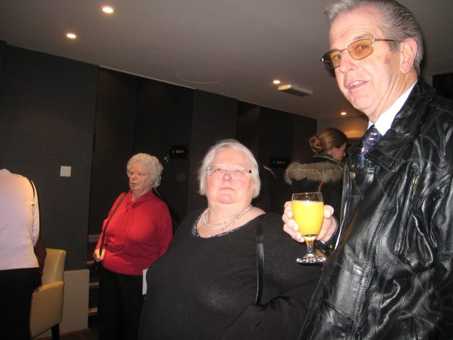 Betty Probert, Penny Olesen and Peter Murrills at Christmas dinner 2009