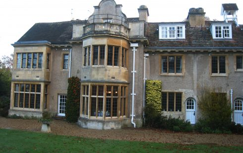 Leckford  Abbas - view of the dining room from the gardens.