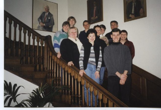 Robert Sayle Department Managers on the stairs at Madingley Hall