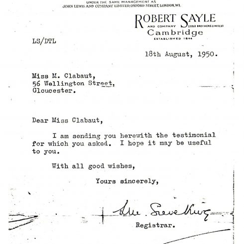 Testimonial Letter for Miss Marguerite Clabaut