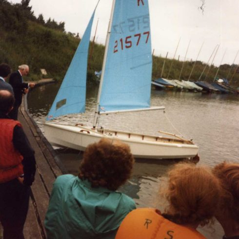 Robert Sayle Sailing Club Launch their new Dinghy at Rosswell Pits, near Ely